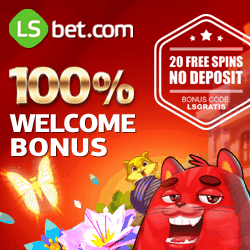 LSBet Casino 20 exclusive free spins (no deposit) + $300 free bonus money