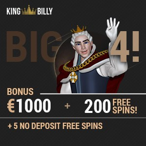 King Billy Casino 200 free spins   200% up to €1000 bonus money