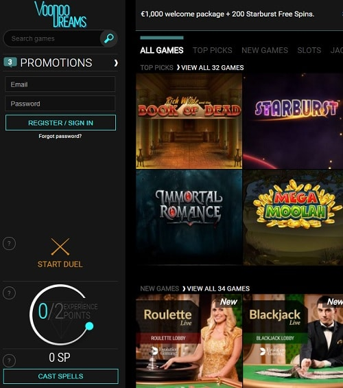 Voo Doo Dreams Casino free spins bonus