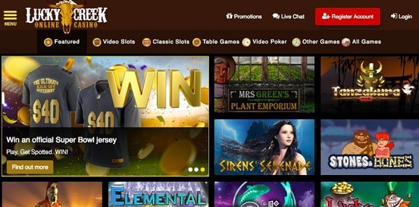 Lucky Creek Casino online games for USA