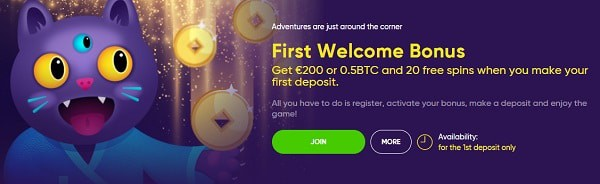 Make a deposit and grab up to 1 BTC or 300 EUR, plus 100 free spins!