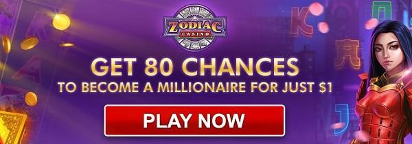 80 free spins bonus on $1 deposit