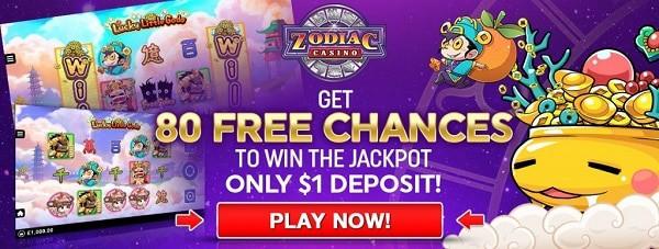 Zodiac Casino 80 gratis spins