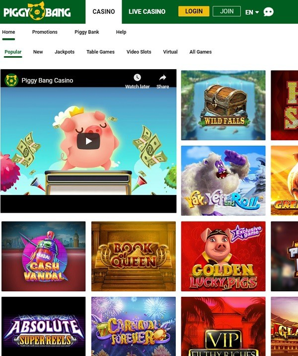 Piggy Bang Casino Online - no wagering conditions