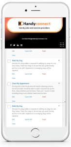 Handyconnect on a mobile device showing jobs open for work