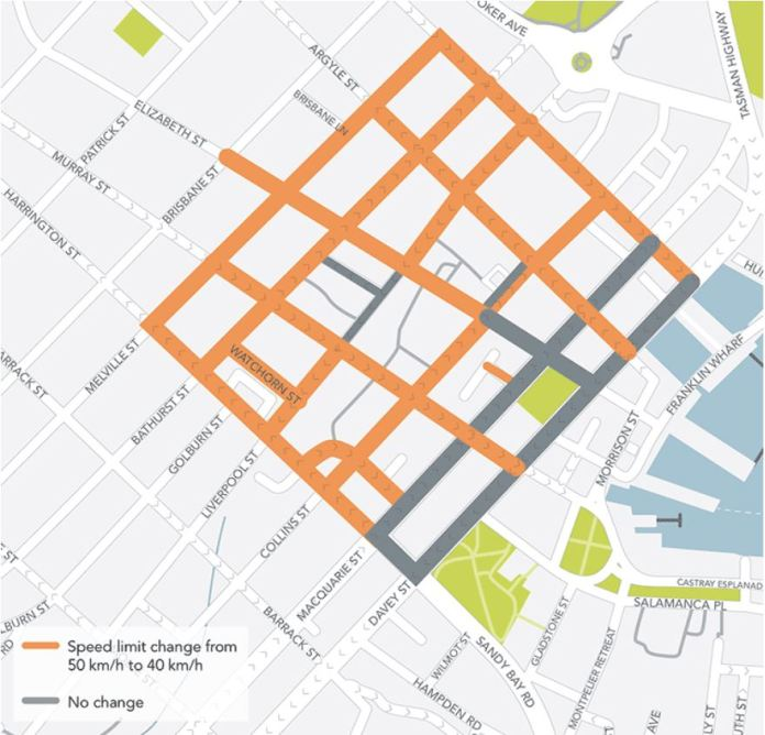 Hobart lower speed zone map