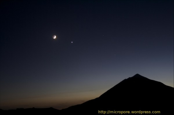 Moon Venus Mars Spica and del Teide Micropore