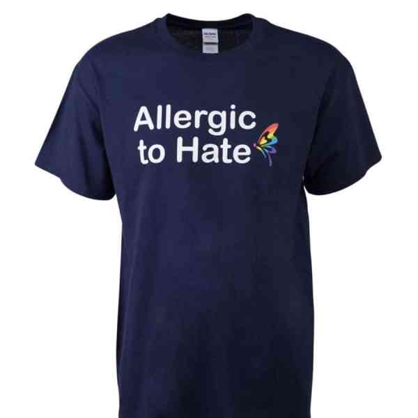 """T-Shirt """"Allergic to Hate"""" blue"""