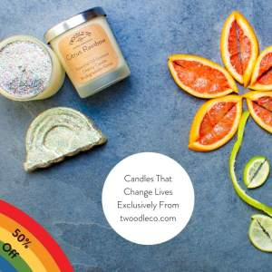 Citrus Rainbow Charity Candle Sale by Twoodle Co Natural Home Scent
