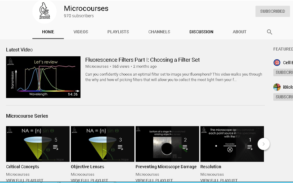 Great video Microcourses about microscopy