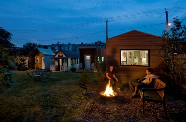 Minim House is located at Boneyard Studios in Washington DC, the country's only tiny house showcase.