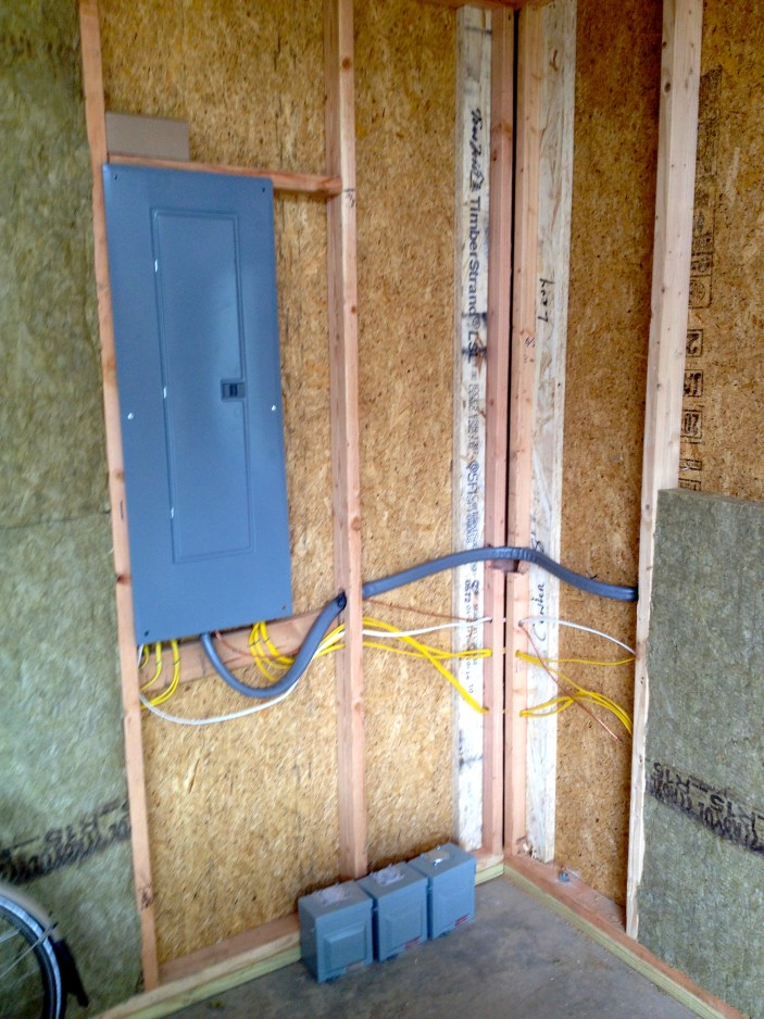 Electric and insulation (roxol) being added to Studio Shed walls