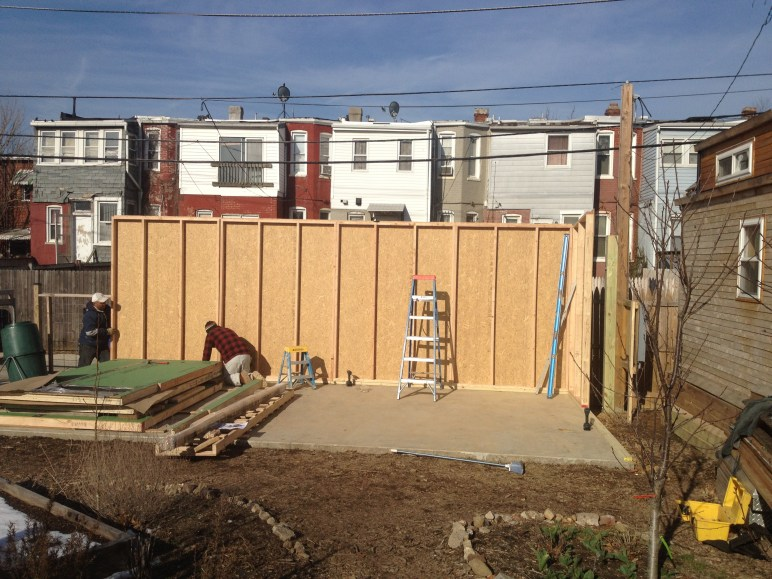 Day 2 (after concrete dried)- Studio Shed build starts