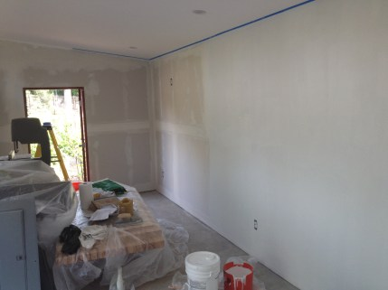 Insulation in and drywall up