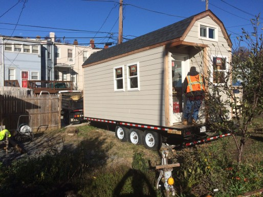 The Academy of Construction and Design students tiny house on the move to be completed at their new facility in Deanwood.