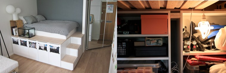 A bed on a raised platform made up of Ikea kitchen cabinets and doors. A photo under the platform shows the storage space.
