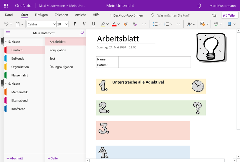 OneNote als Online-Version im Internetbrowser