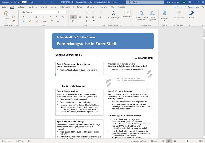 Gestaltetes Arbeitsblatt in Microsoft Word