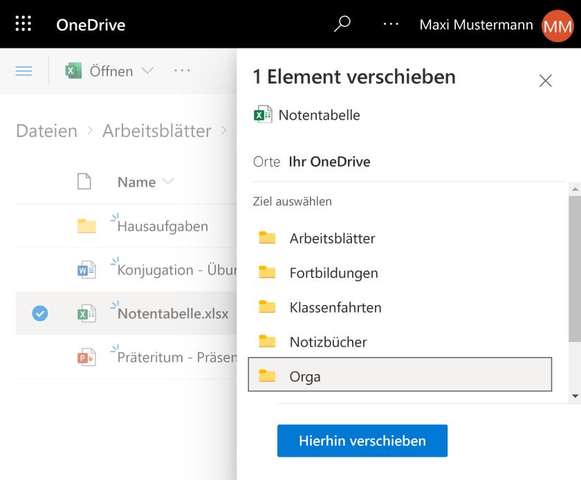Datei in OneDrive verschieben