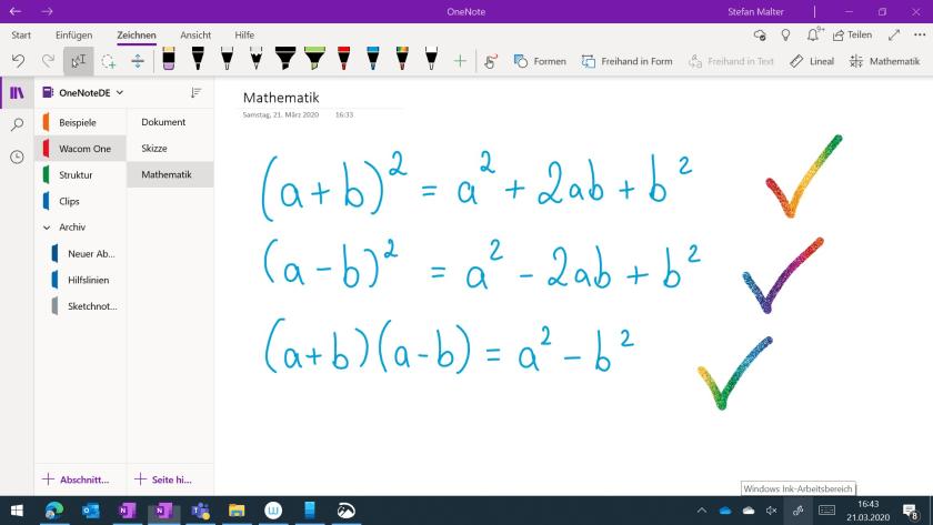 mathematische Formeln handschriftlich schreiben