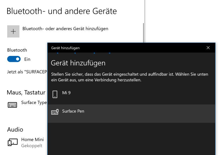 Surface Pen in Windows 10 hinzufügen