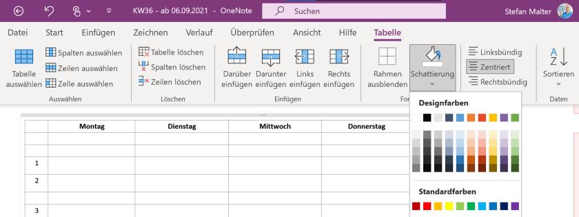 Tabellenfunktionen in OneNote