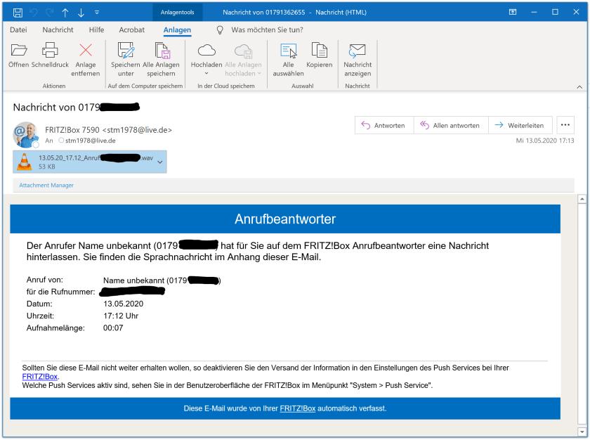 E-Mail vom Anrufbeantworter der FRITZ!Box
