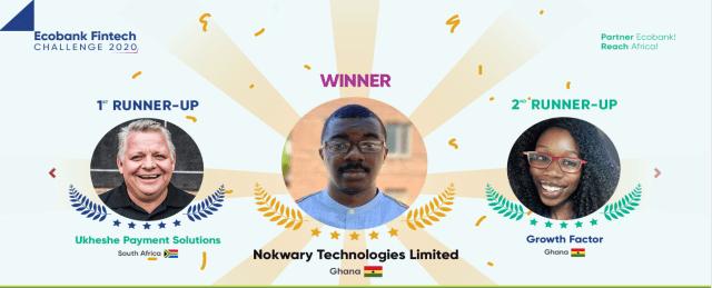 Ecobank Fintech Challenge 2020 Nokwary Technologies winners Ghana