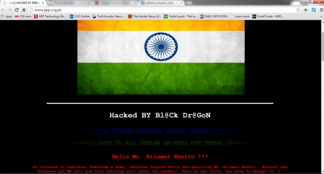 Pakistan People's Party Website Hacked