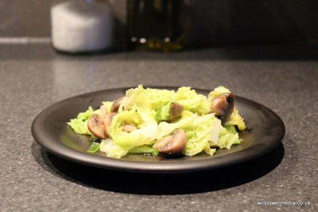 Microwave Mushroom Cabbage Served