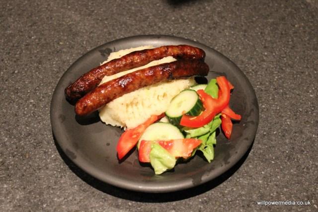 Microwave Mustard Mashed Potato - Served Sausages