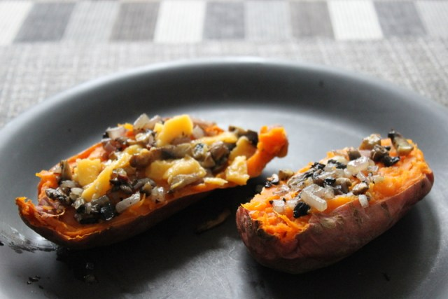 microwave sweet potato with topping