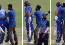 Fan Invades Pitch, Tries To Kiss Rohit Sharma During Vijay Hazare Trophy Match This happened during a quarterfinal game of the ongoing Vijay Hazare Trophy between Mumbai and Bihar..