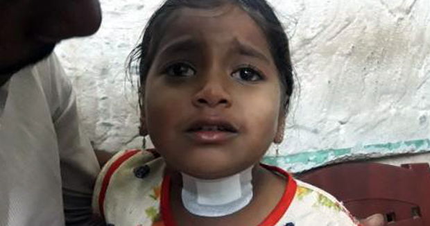 Telugu News Not to pay for drinking alcohol A five-year-old baby's throat was a thug