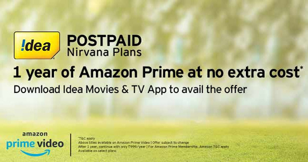 Now Idea users too get one year Amazon Prime membership for free, but not all and conditions apply
