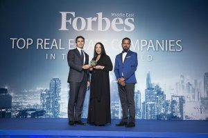 NREC's CEO Mr. Samuel Sidiqi receiving the award from Forbes Middle East
