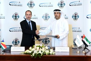 HE Joel Morgan Minister of Foreign Affairs and Transport and HE Al Majed Al Mansoori Chairman of Abu Dhabi Airports