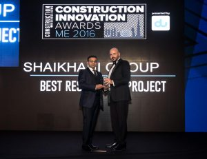 Mahmood Shaikhani, Managing Director of Shaikhani Group, receives the Construction Innovation Awards ME from organisers at a gala ceremony held in Dubai recently