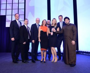 Etihad Airways' Vice President Guest Services, Linda Celestino, (third from right) celebrated the Best Original Video award with colleagues at the 2016 APEX Awards Ceremony at Singapore's Marina Bay Sands Expo and Convention Centre
