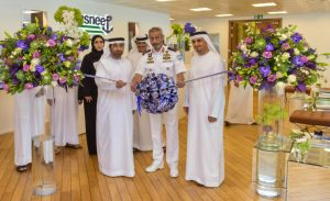Right: Dr. Abduallah Saleem Alkatheeri, Director General, FTA  Center: Rear Admiral Pilot Saeed Bin Hamdan Al Nahyan, Deputy Commander of the UAE Navy, GHQ Left: Eng.Rashed AlHebsi, CEO, Tasneef