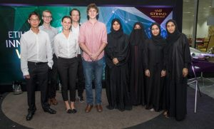 Pictured form left to right are the Innovation Week Hackathon winners Ting-Che Lin, Vasily Rudchenko, Brooke Hopkins, Matthew Karau, and William Held from New York University Abu Dhabi, and Hamda Salem Suhail Manea Alremeithi, Meera Ahmed Hamad Alshaikhahmed Al Shamsi, Salma Matar Mohammed Hudaily Almansoori, and Fatmah Ahmed Ali Hassan Alkhezaimy from Higher Colleges of Technology.