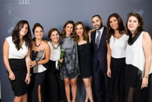 Nathalie Haddad (fourth from left) and the rest of the Right Bite team gather on stage for a group photo