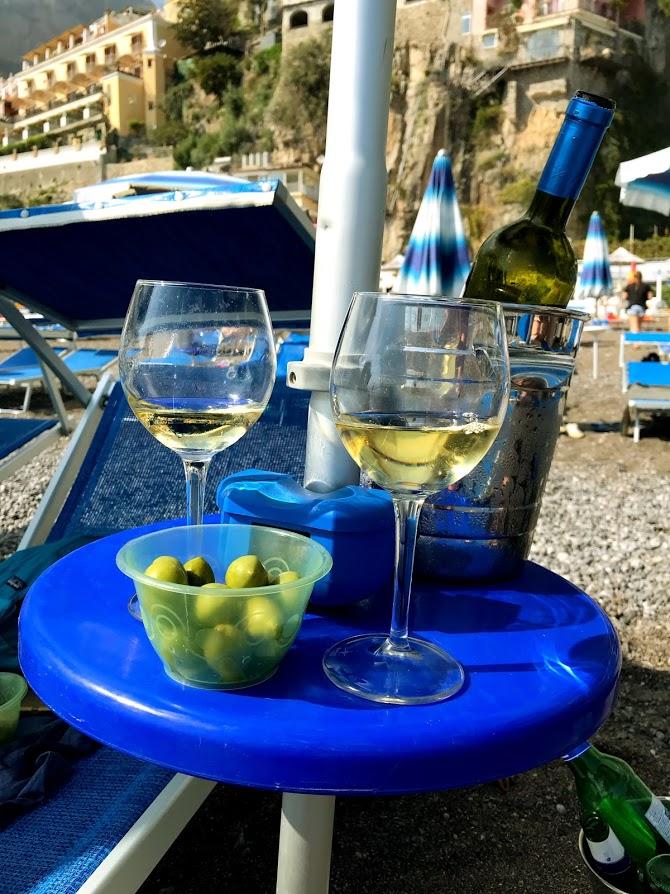 Positano beach wine