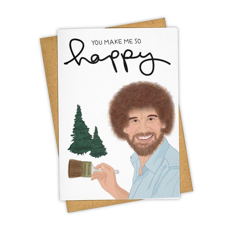 Bob Ross Happy Card
