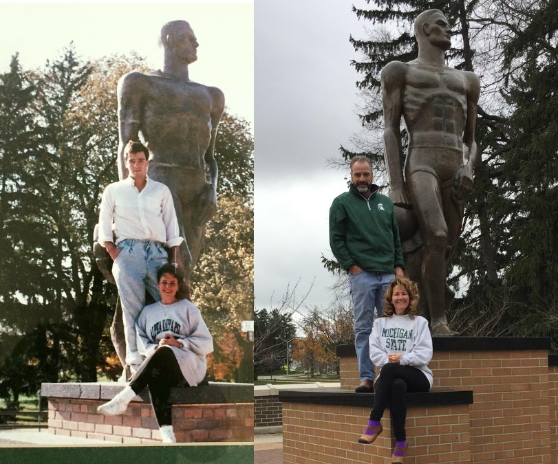 Side by Side picture of hubs and I at MSU in 1990 and 2018