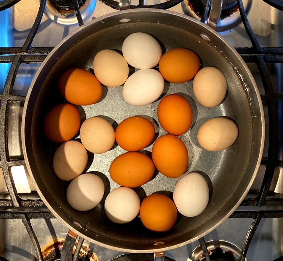 Eggs boiling for Deviled Egg recipe