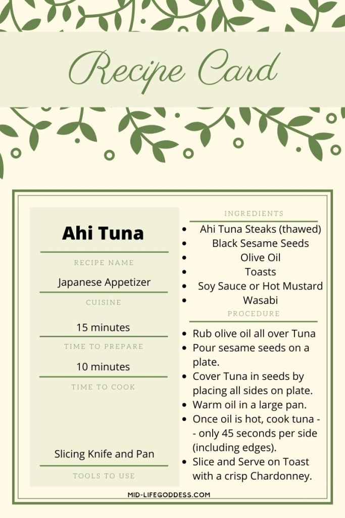 Ahi Tuna Appetizer Recipe
