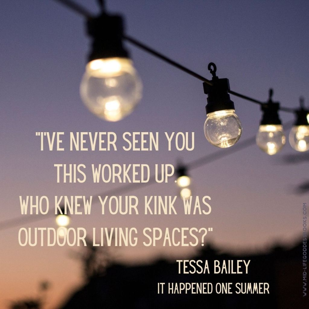 patio lights and book quote