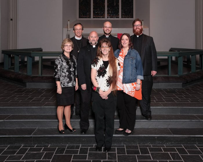 Front row, from left: Sherri Metzler Middle row, from left: Mrs. Pat Paavola, Michael Metzler and Heather Girardin Back row, from left: LCMS Mid-South District President Dr. Roger Paavola, Erik Christensen and Philip Girardin. Photo credit: Concordia Seminary, St. Louis