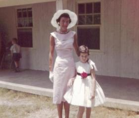 Mother and daughter (Pat and Cissy Day) in their Easter finery around 1959